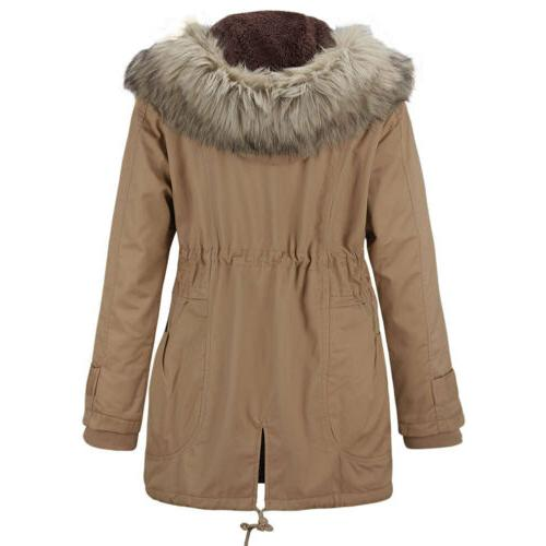 US Womens Winter Warm Fur Hoodie Peacoat Jacket Zip-up Overcoat