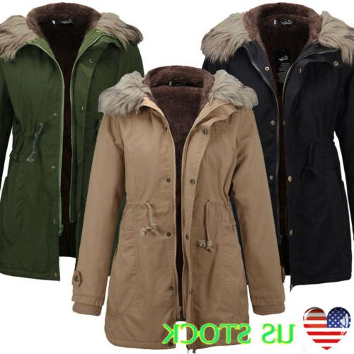us womens winter warm fur hoodie coat