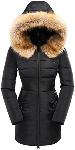 Beinia Valuker Women's Down Coat with Fur Hood 90D Parka Puf