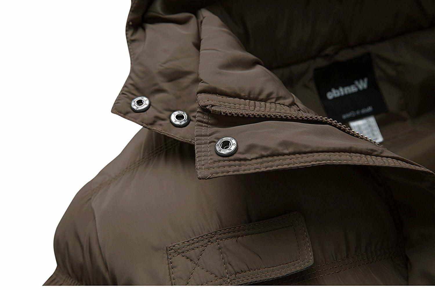 Wantdo Men's Winter Cotton Puffer Jacket with Removable Hood