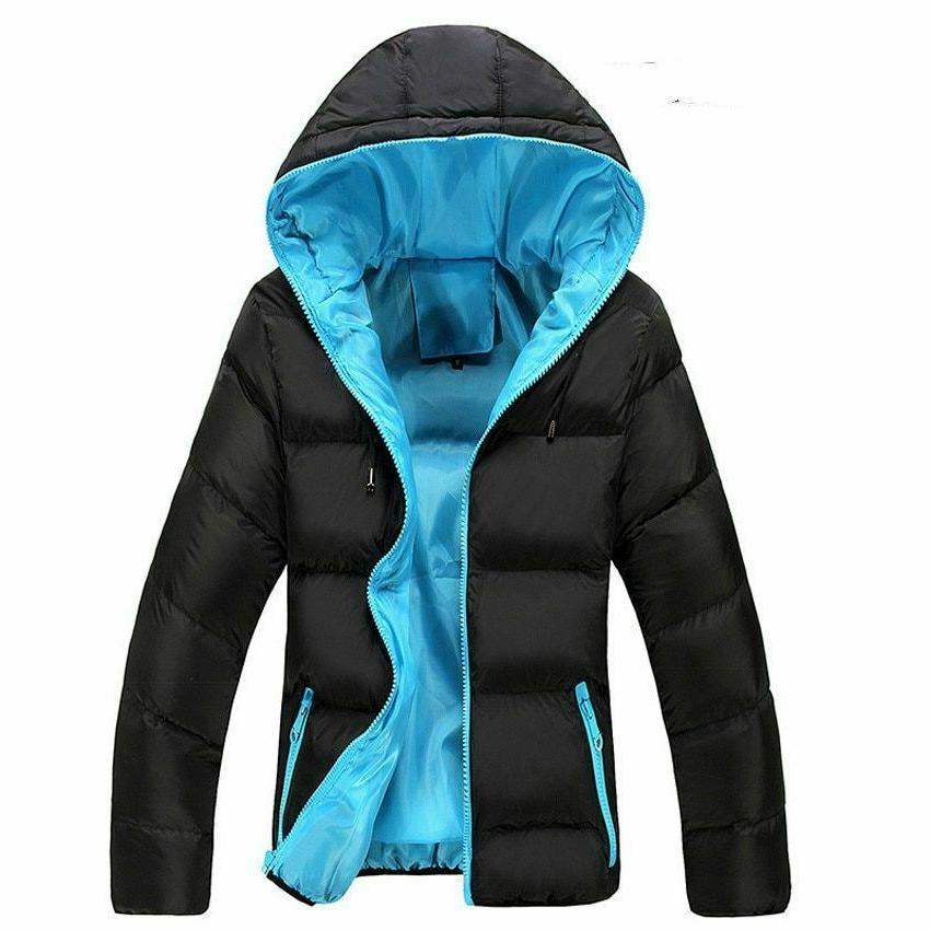Winter Casual Hooded Jacket Zipper Parka Style Slim Men's Co