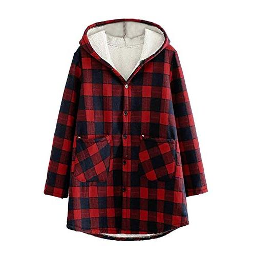 winter coat women plaid plus velvet thicken