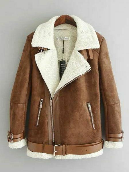 winter faux suede leather shearling jackets coats