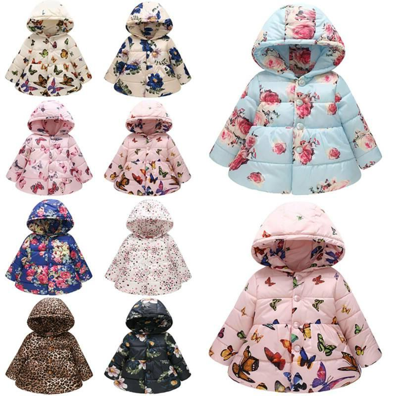 Kids Baby Winter Floral Hoodie Padded Jacket
