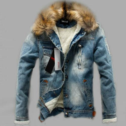 Winter Casual Coat Jean Jacket Fur Collar Fleece Lined Cardigan