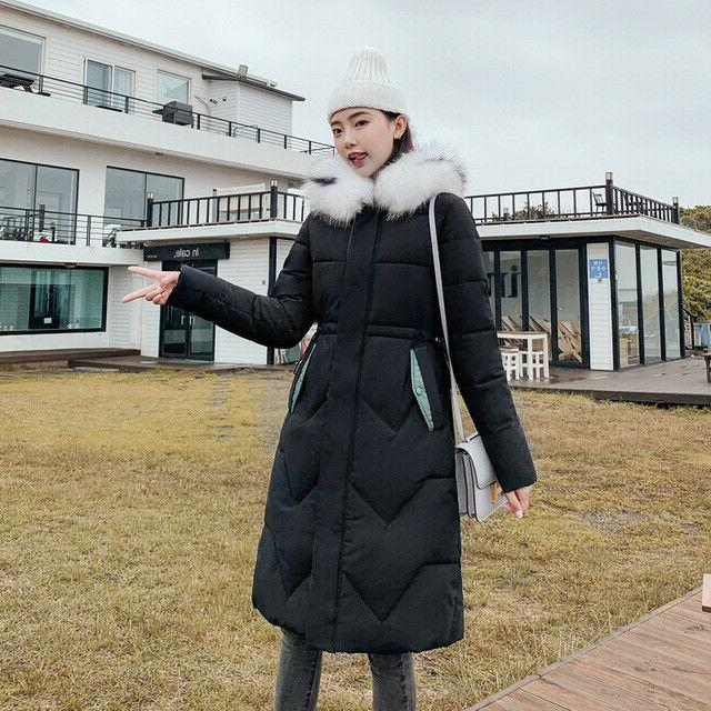 Winter Long Down Hooded Large Fur Collar Parka