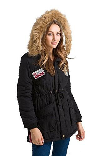 mewow Womens Winter Thick Warm Parka Lined Fur