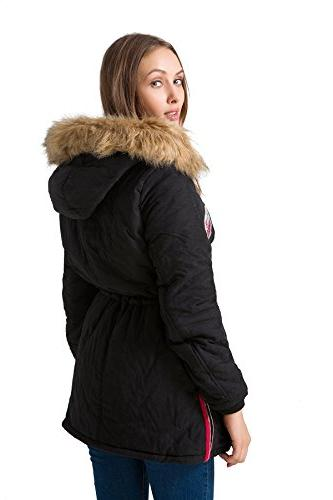 mewow Womens Warm Jacket Lined Faux Fur Hood