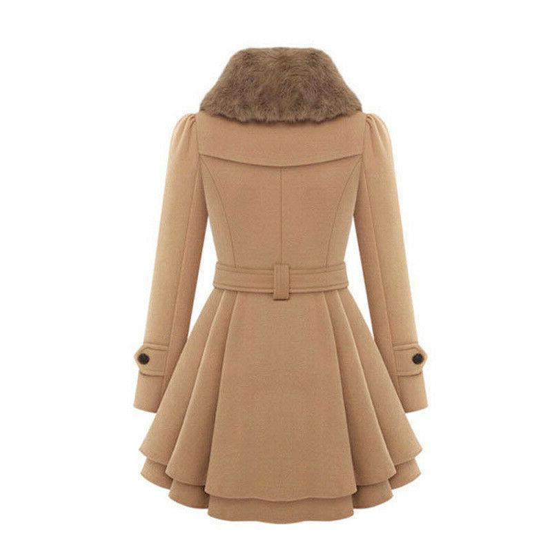 Women Warm Suit Breasted Trench Outerwear US