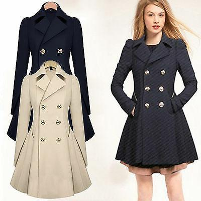 winter women double breasted long slim trench