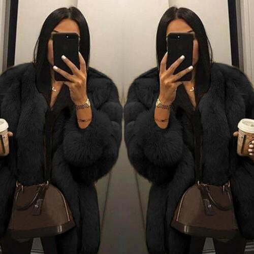 Winter Women Fluffy Faux Fur Thick Warm Coat Overcoat Top