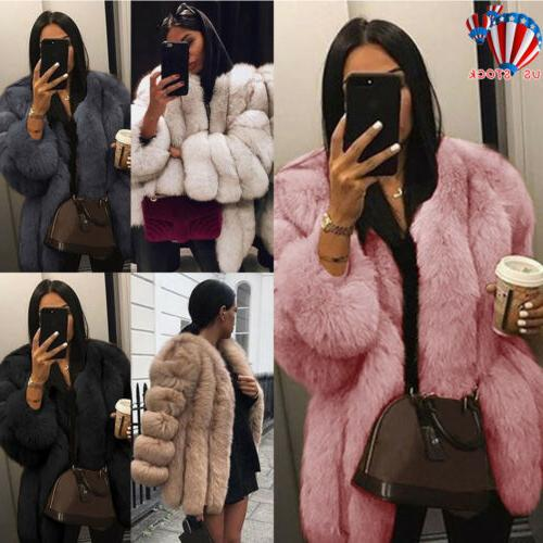 winter women fluffy faux fur jacket thick
