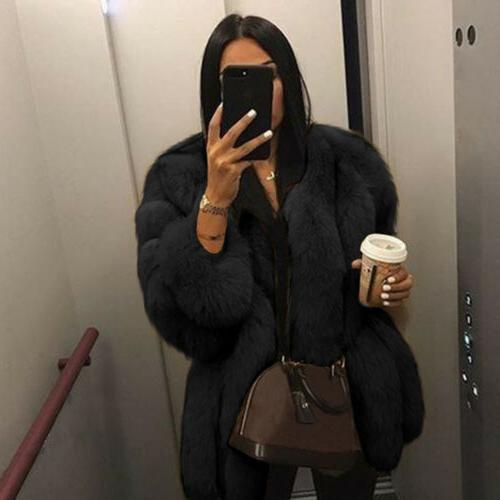 US Womens Faux Fur Jacket Outerwear Overcoat