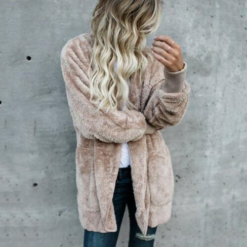 Winter Fuzzy Fluffy Coats Hooded Jacket Sweater