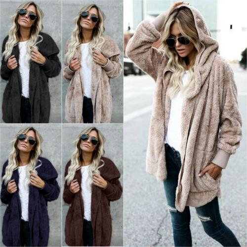 winter women fuzzy fluffy coats cardigan hooded