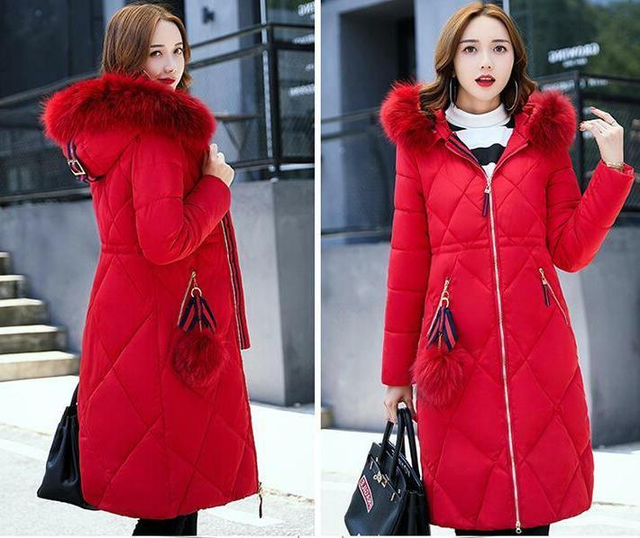 Winter Women's Down Cotton Parka Collar Hooded Quilted Jacket