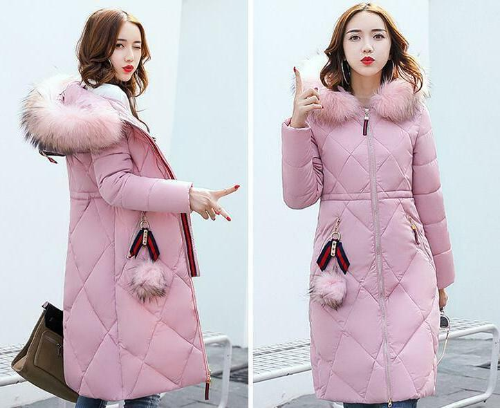 Winter long Cotton Collar Coat Quilted Jacket