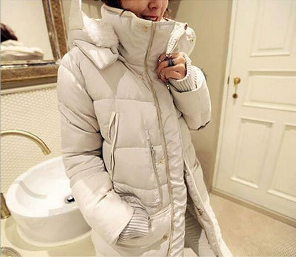 Winter Women Down Feather Long Coat Parka Lambwool