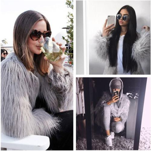 Winter Womens Fur Parka Overcoat Celeb