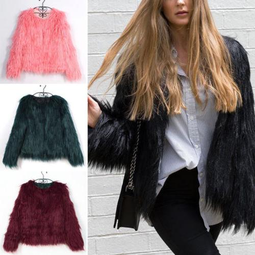Winter Womens Coat Fur Outwear Overcoat Outerwear Party