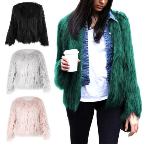 Winter Womens Faux Fur Outwear Overcoat Outerwear Party