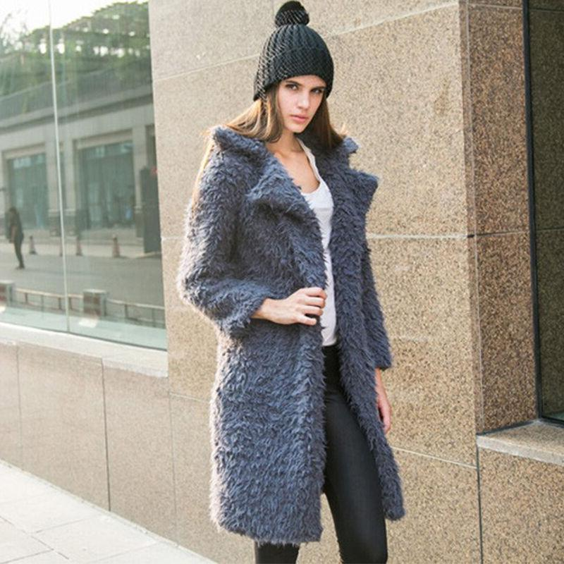 Winter Womens Coat Warm Lapel Cardigan Tops
