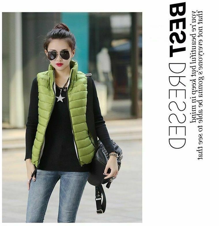 Women Cotton Sleeveless Jackets Casual Waistcoat Autumn Winter