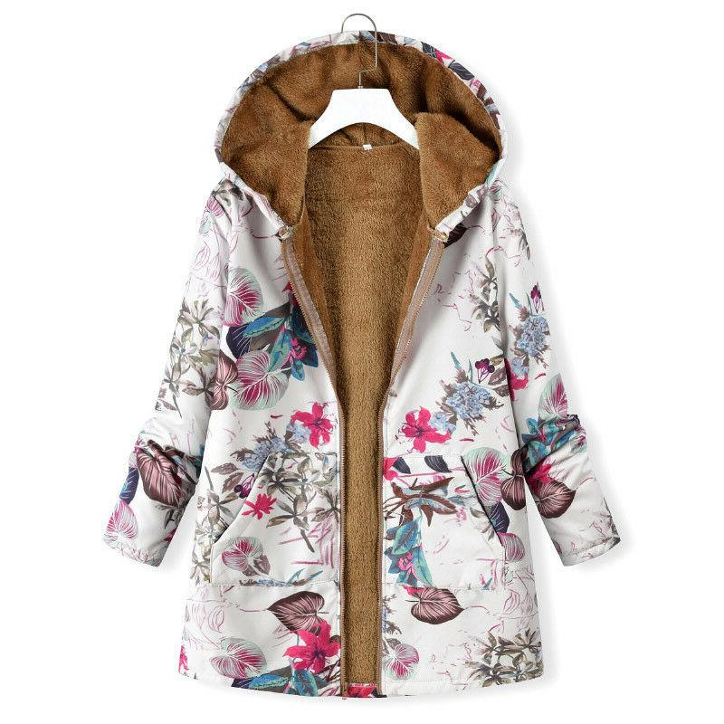 Women Parka Coat Hoohed Fleece Winter Outwear Size