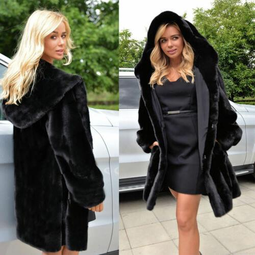 plus size womens faux fur jackets hooded
