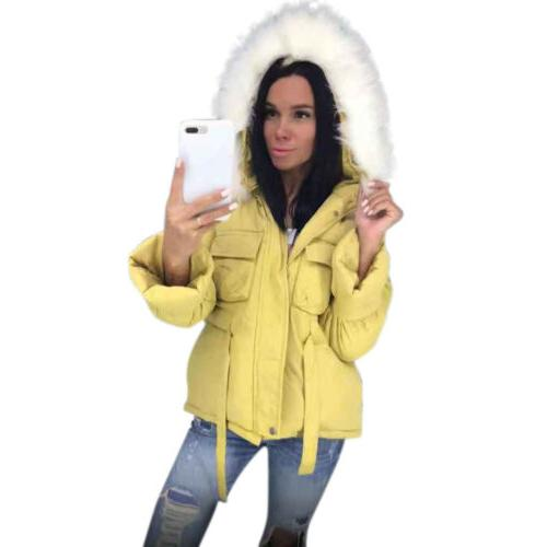 Women Fluffy Hooded Down Coats Pockets Tops US