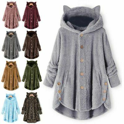 plus size women winter hooded fluffy coat