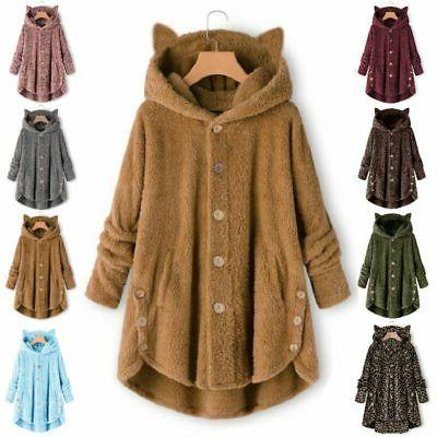 Plus Size Women Winter Hooded Fur Outwear