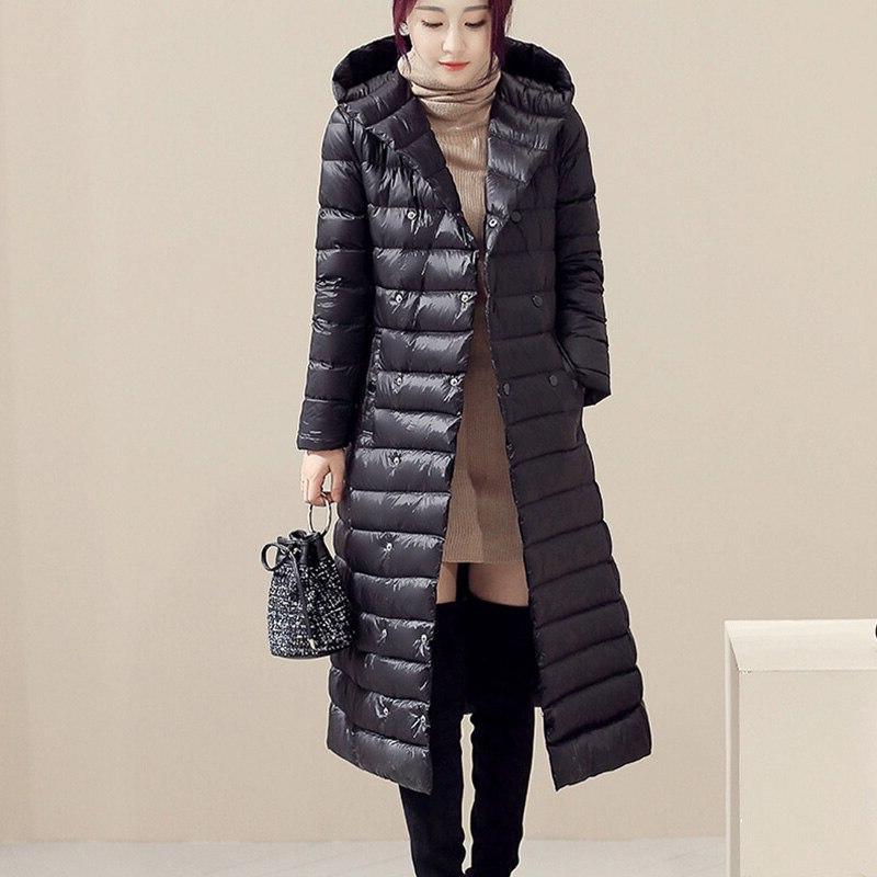 Women Hooded Duck Down Jacket Parkas 2019 <font><b>Winter</b></font> Warm Ultra Light <font><b>Coats</b></font> With Sashes