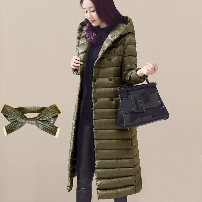 Women Hooded Slim Solid Duck Down Jacket 2019 <font><b>Winter</b></font> Ultra Outerwear Sashes