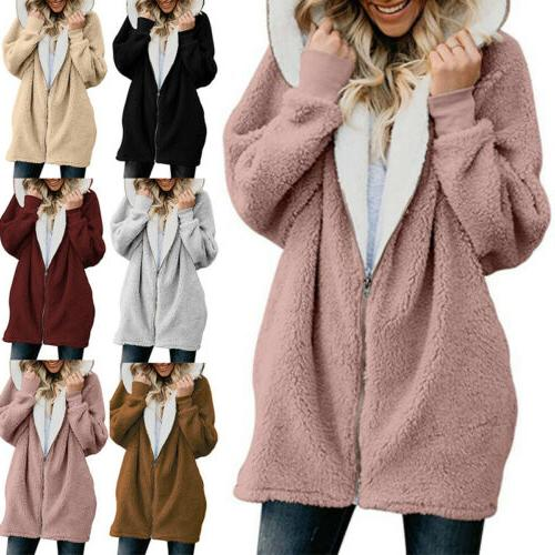 women hooded warm zipper sweatshirt long coat
