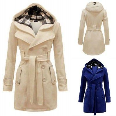 Women Ladies Winter Trench Coat Peacoat Trench