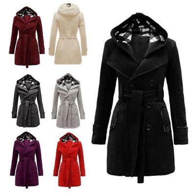women ladies winter hooded trench coat long