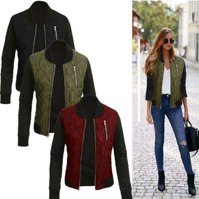 women ladies winter quilted padded bomber jacket