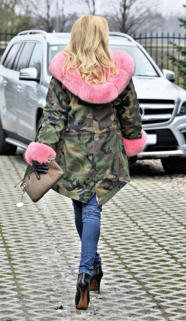 Roiii Ladies Winter Warm Faux Fur Camouflage Jacket