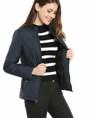 women long sleeves zippered pockets quilted jacket