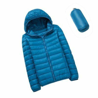 Women Packable Down Jacket Ultralight Stand Coat Winter Hoodie Puffer