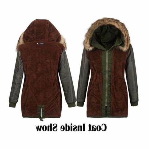 Women Hooded Thick Cotton Warm Faux Fur Long Jacket Hot Sale