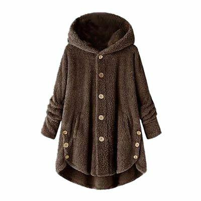 Women Plus Fluffy Coat Jacket Tops Cover Winter US