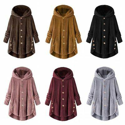 Women Plus Hooded Fluffy Coat Fleece Jacket Tops Cover Winter US