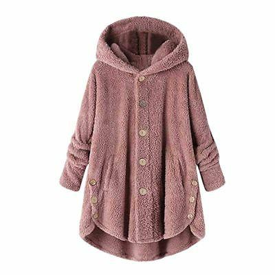 Women Plus Hooded Fluffy Coat Fleece Fur Jacket Winter US