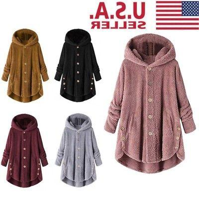 women plus size hooded fluffy coat fleece