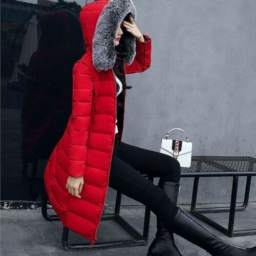 Women's Cotton Jacket Hooded Coat Fur Parka Outwear