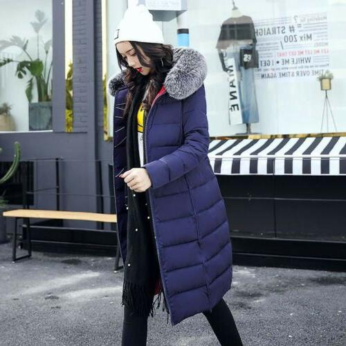 Women's Cotton Warm Jacket Fur Collar Parka Outwear