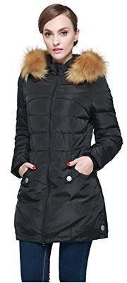 Orolay Women's Down Jacket with Faux Fur Trim Hood Black M
