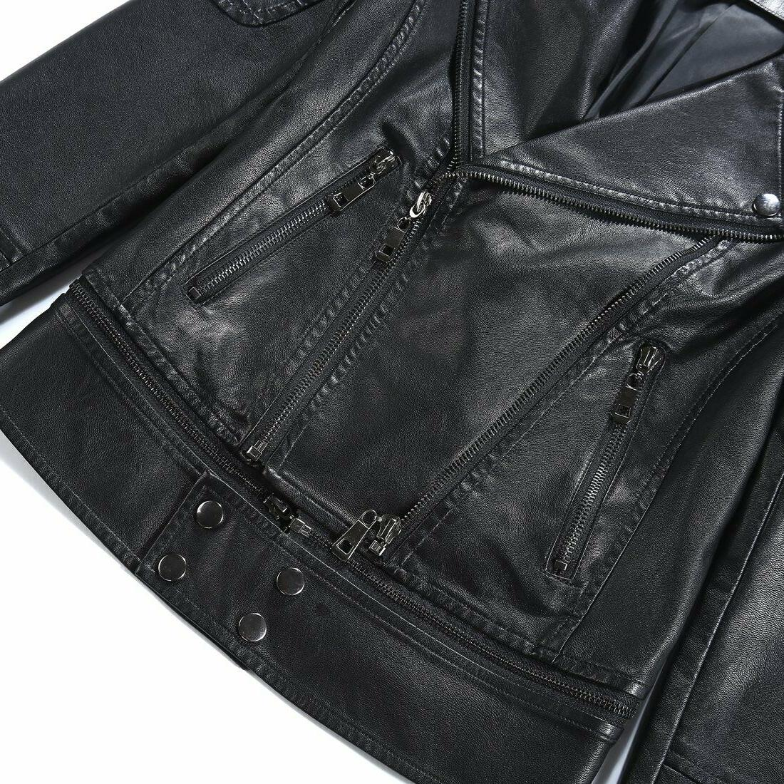 Tanming Women's Faux Leather Coat Jacket, Small,